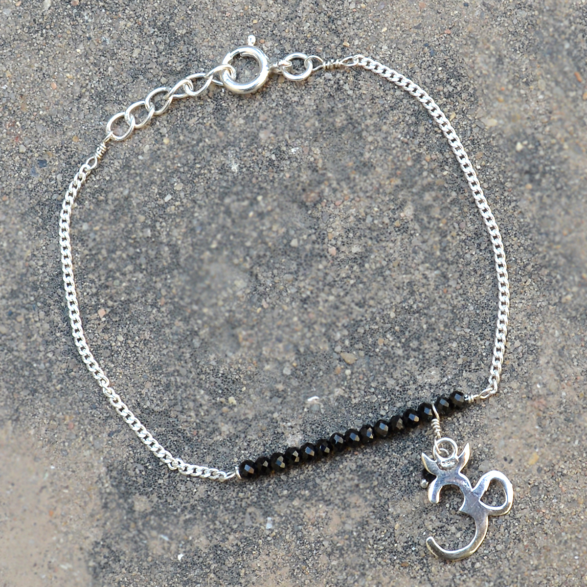 Black Onyx Gemstone Silver New Bracelet PG-155888