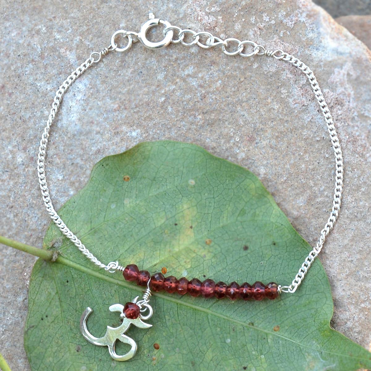 Red Crystal Gemstone Silver Bracelet PG-155892