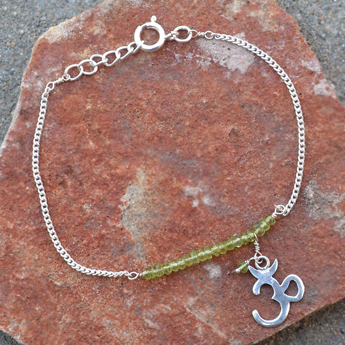 Peridot Gemstone Silver Bracelet PG-155893