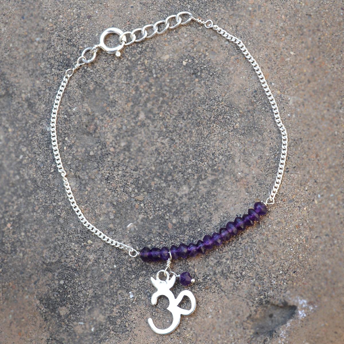 Amethyst Gemstone Silver Bracelet PG-155895