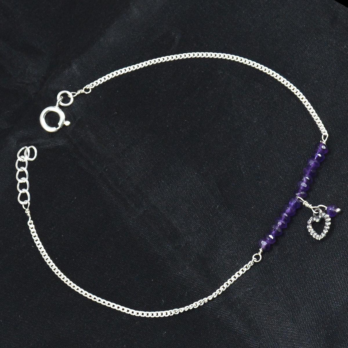 Amethyst Gemstone Silver Single Piece Anklet PG-155897
