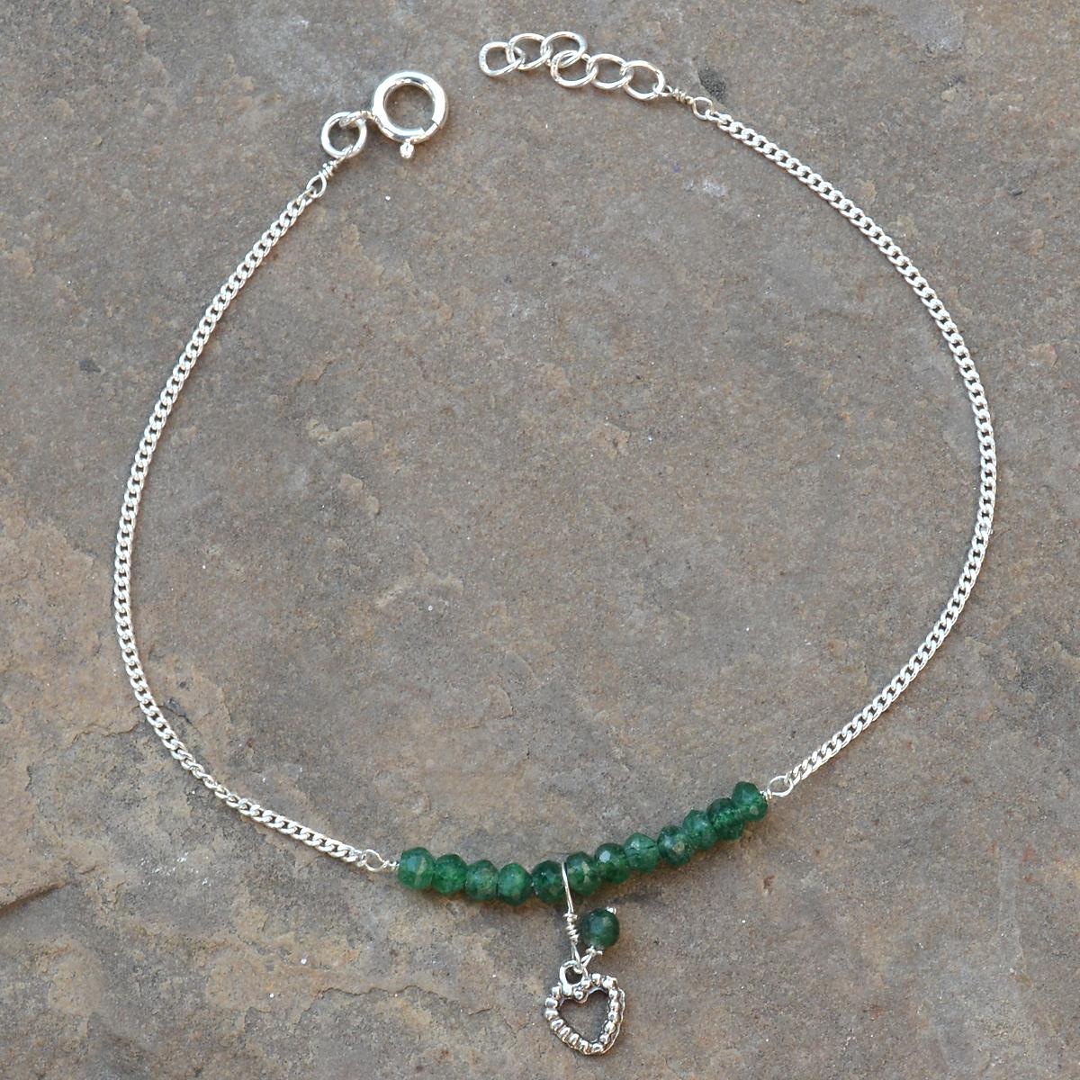 Green Aventurine Gemstone Sterling Silver Anklet PG-155898
