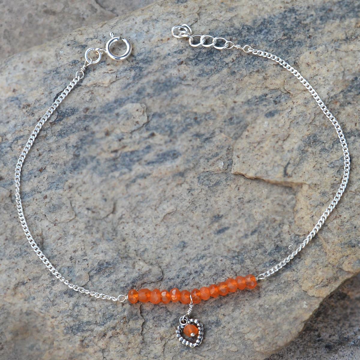 Carnelian Gemstone Silver New Bracelet PG-155890