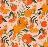 Orange Fruit Printed Cotton Poplin