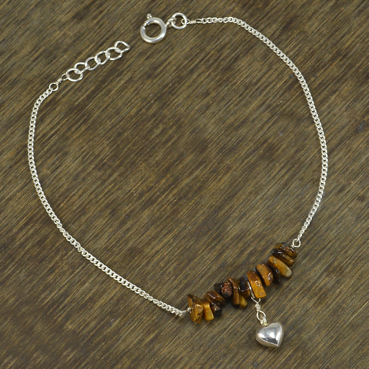 Tiger Eye Gemstone Silver Single Piece Anklet PG-155871