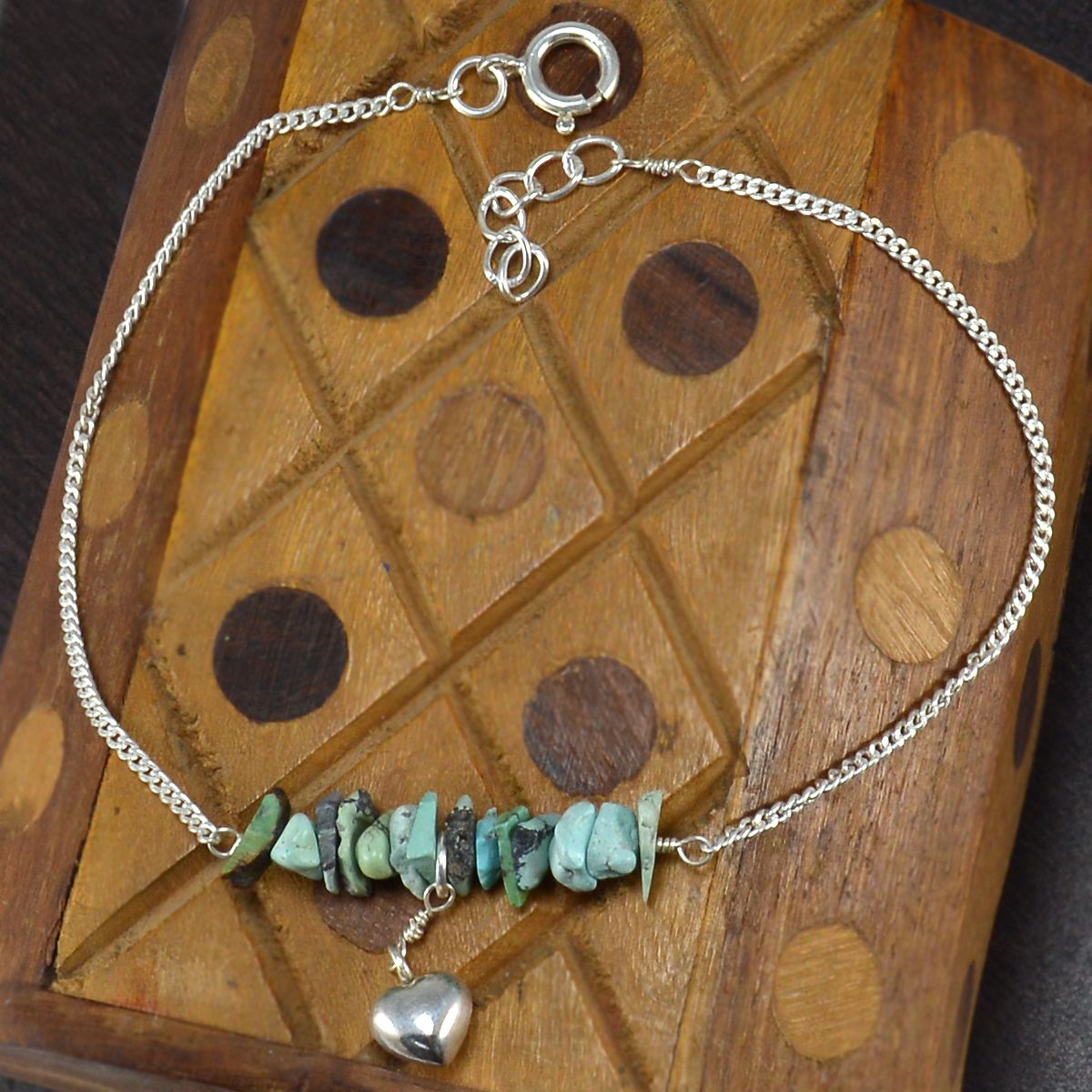 Turquoise Gemstone Silver Single Piece Anklet PG-155867