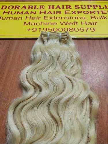 Blonde Weft Indian Human Hair Extensions