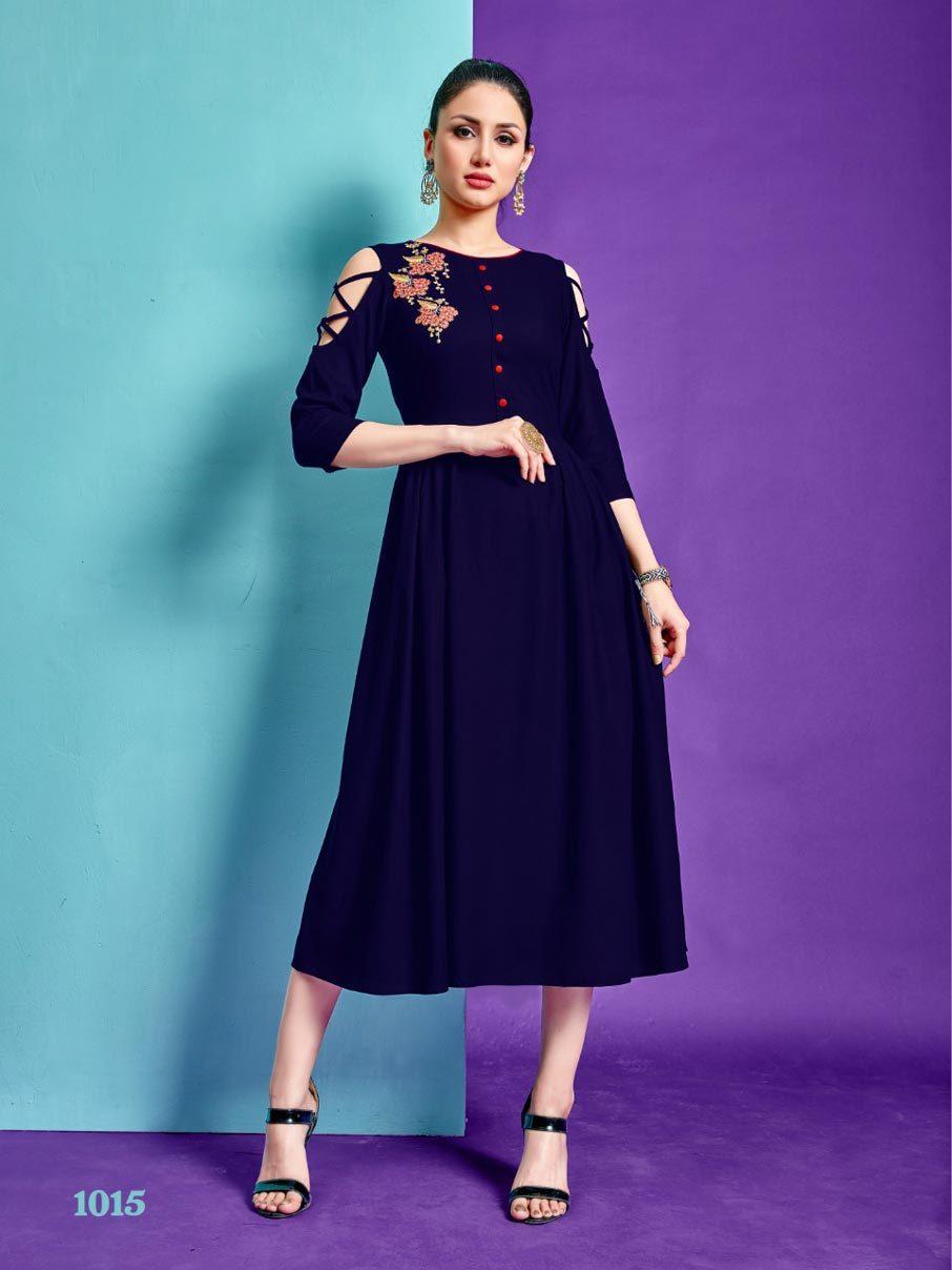 Aara Riya Designer Rayon Embroidery Wholesale Kurti