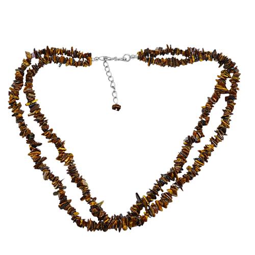 Tiger Eye Gemstone Chips Necklace PG-131517