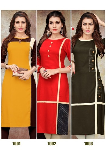 Aayna Vol-1 Plain Solid Rayon Long Kurtis