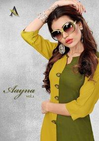 Aayna Vol-1 Plain Solid Rayon Long Kurtis