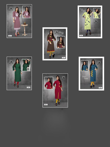 Aayna Vol-5 Aayna Cotton Flex Plain Kurti