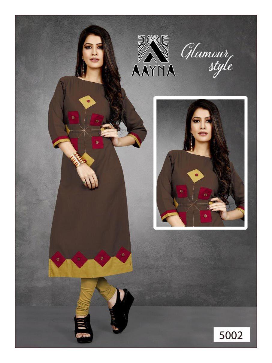 Aayna Vol-5 Aayna Cotton Flex Plain Kurti Catalogue