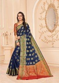 Beautiful Nevy Blue Silk Saree