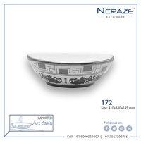 Silver oval shape wash basin