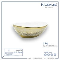 Oval type golden wash basin