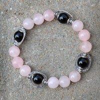 Rose Quartz & Black Onyx Silver Bracelet PG-156020