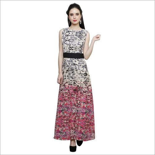 Geometric Print Double Shaded Dress