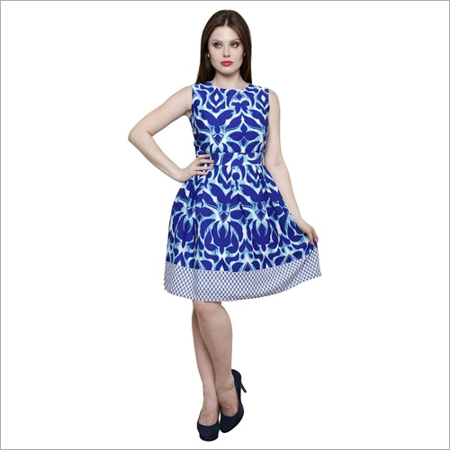 Border Print Midi Dress