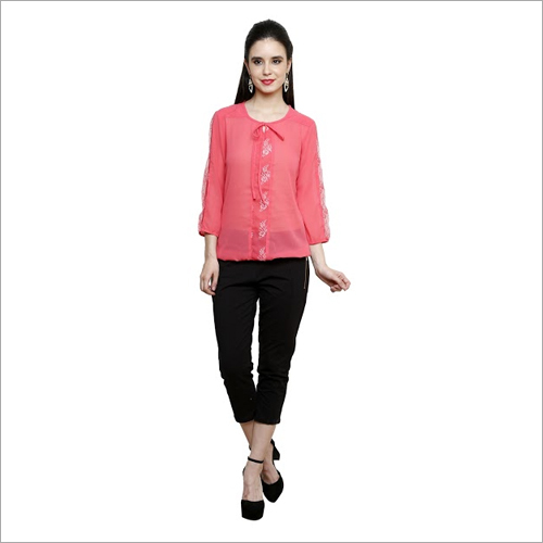 Georgette With Net Top