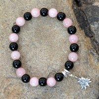 Rose Quartz & Black Onyx Stone Bracelet PG-156023