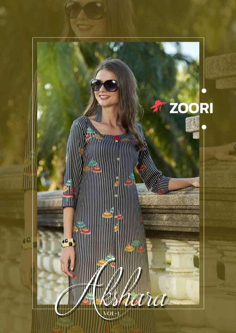 Akshara Vol-1 Zoori Rayon Print Kurti Catalog