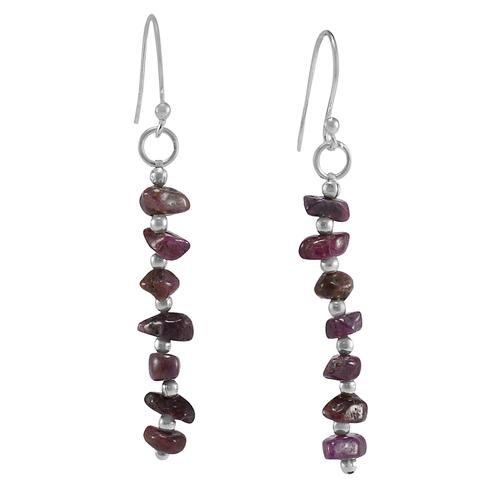 Ruby Stone Silver Earring PG-156029