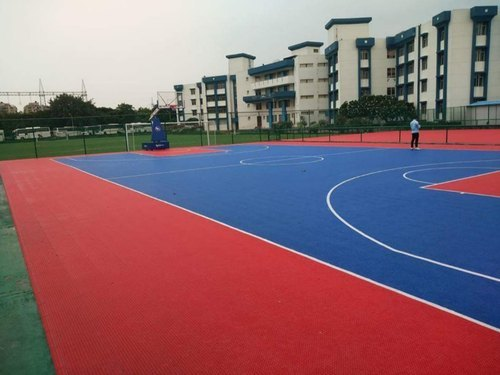 Colorful Outdoor Interlocking Basketball Court Anti - Slip Flooring