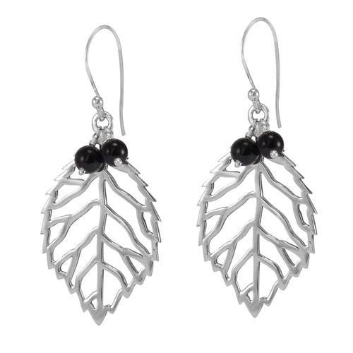 Black Onyx Gemstone Silver Earring PG-156038