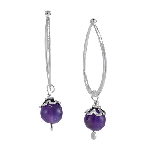 Amethyst Gemstone Silver Earring PG-156045