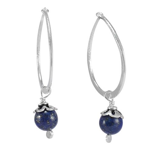Lapis Lazuli Gemstone Silver Earring PG-156046