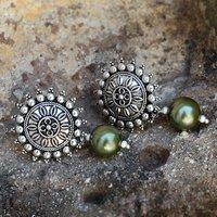 Titanium Pearl Gemstone Silver Earring PG-156047