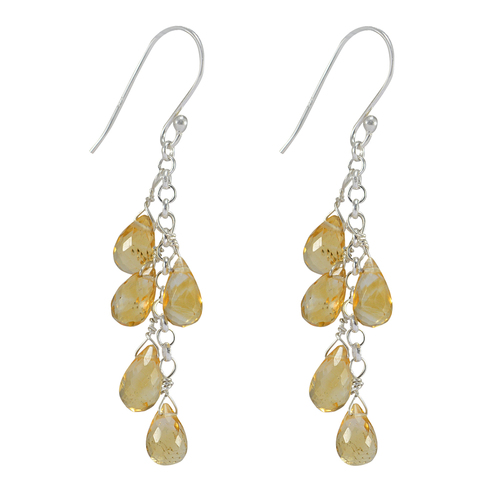 Citrine Gemstone Silver Earring PG-156049