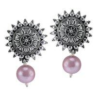 Titanium Pearl Gemstone Silver Earring PG-156051