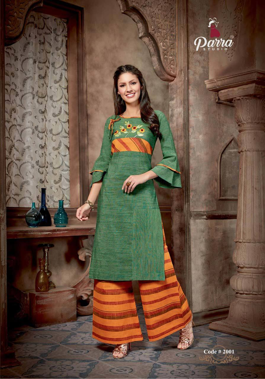 Aliya Vol-2 Parra Studio Silk Cotton Palazzo Kurti Catalog