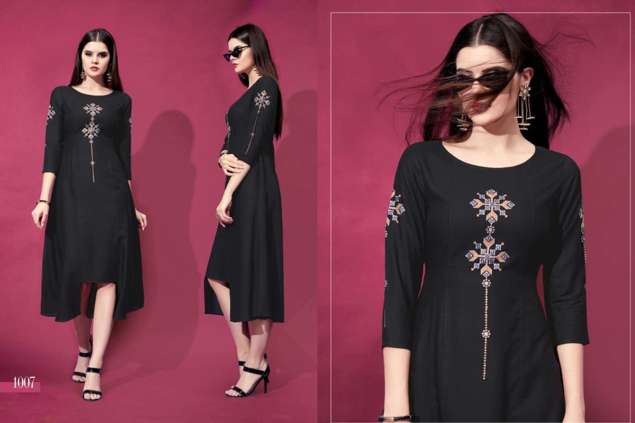 Allora Riya Designer Rayon Embroidery Kurtis Set