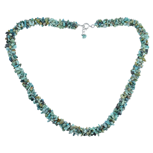 Turquoise Gemstone Silver Chips Necklace PG-156058