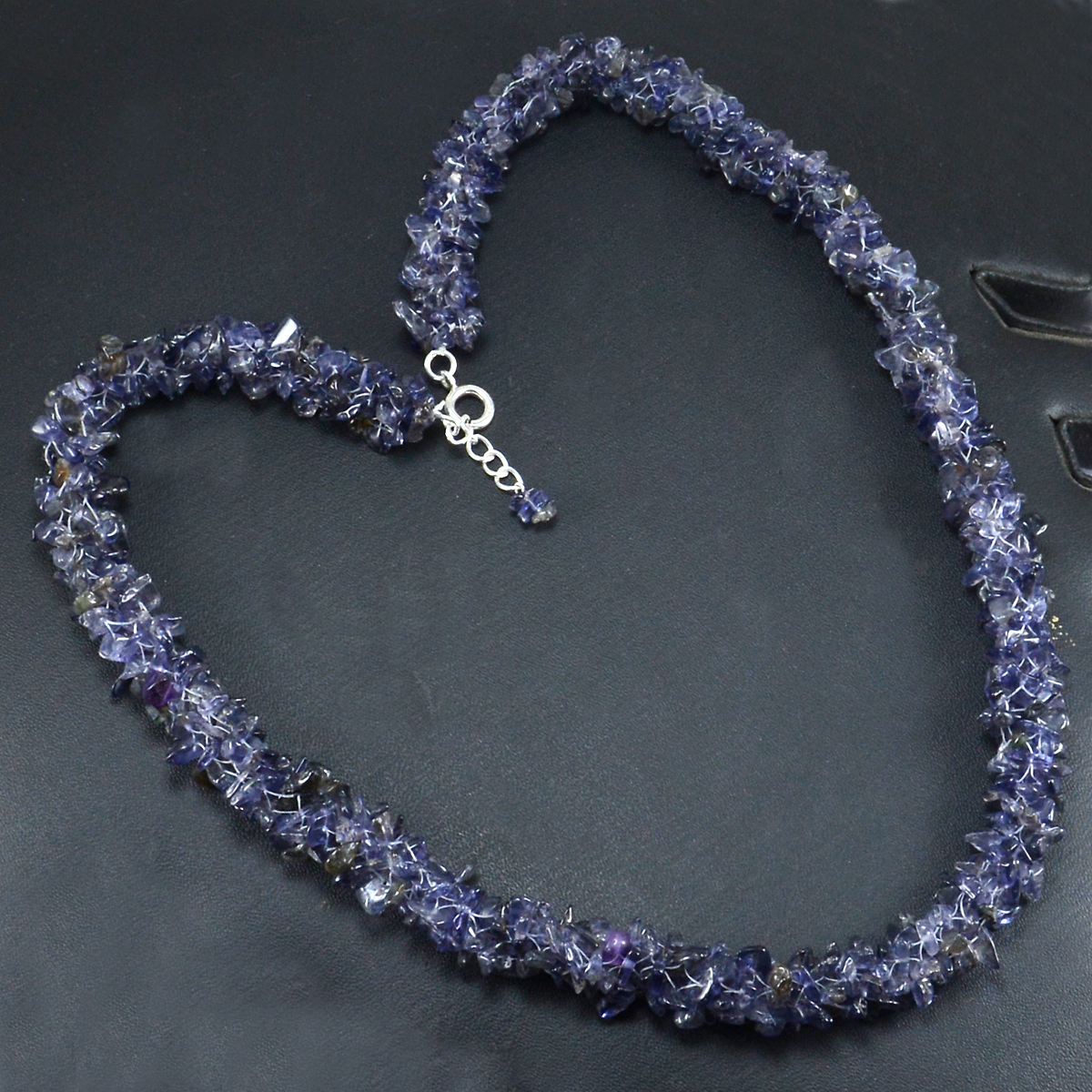 Iolite Gemstone Silver Chips Necklace PG-156060