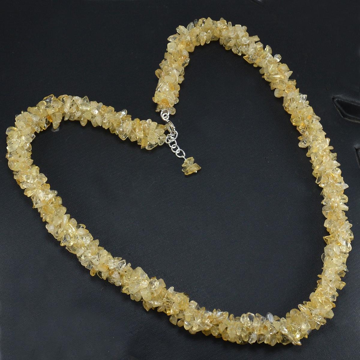 Citrine Gemstone Silver Chips Necklace PG-156062