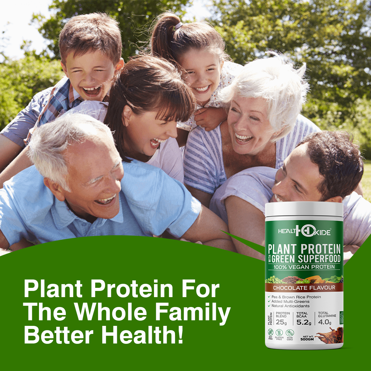 Plant Protein Green Super food (Natural Chocolate flavor) 500 Gm