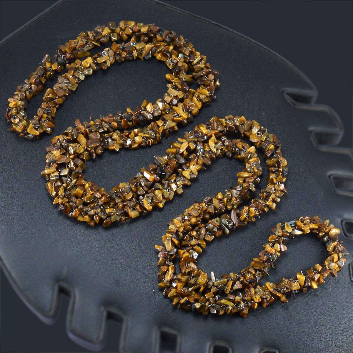 Tiger Eye Gemstone Chips Necklace PG-156064