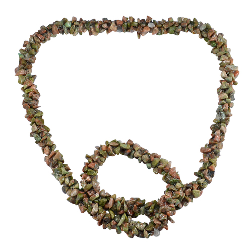 Unakite Gemstone Chips Necklace PG-156066