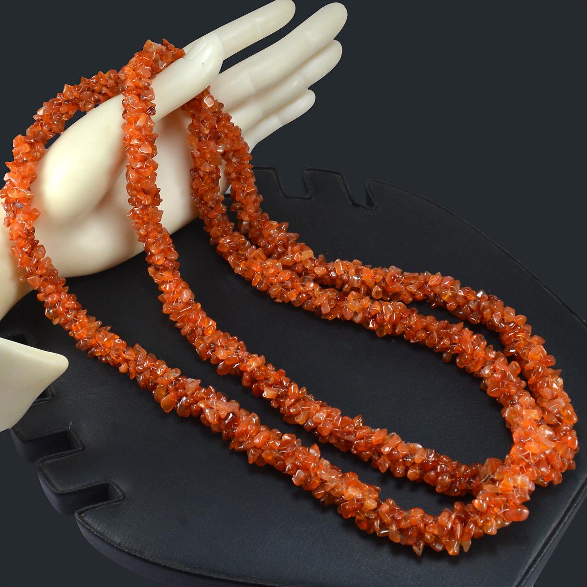 Carnelian Gemstone Chips Necklace PG-156069