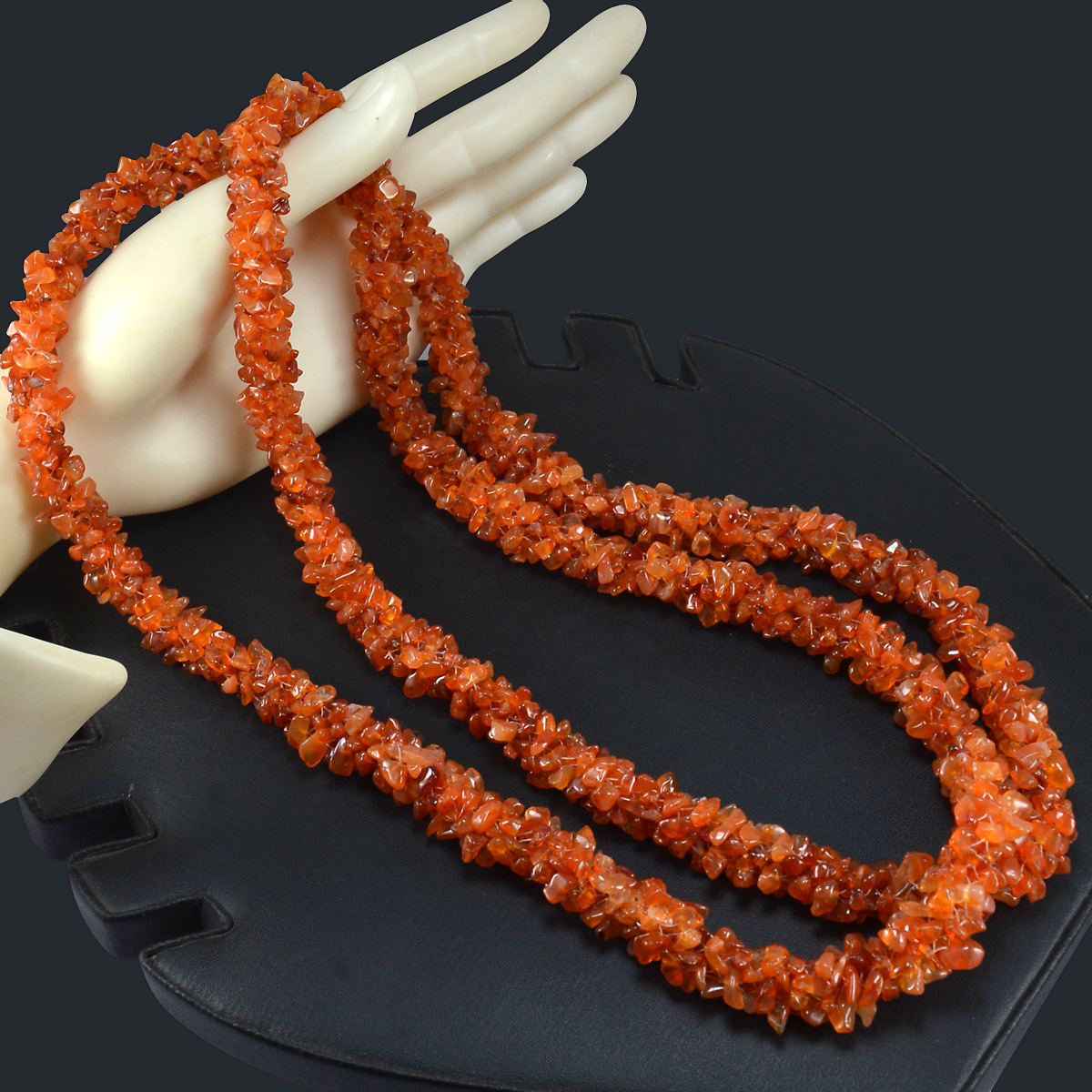 Carnelian Gemstone Chips Necklace PG-156069