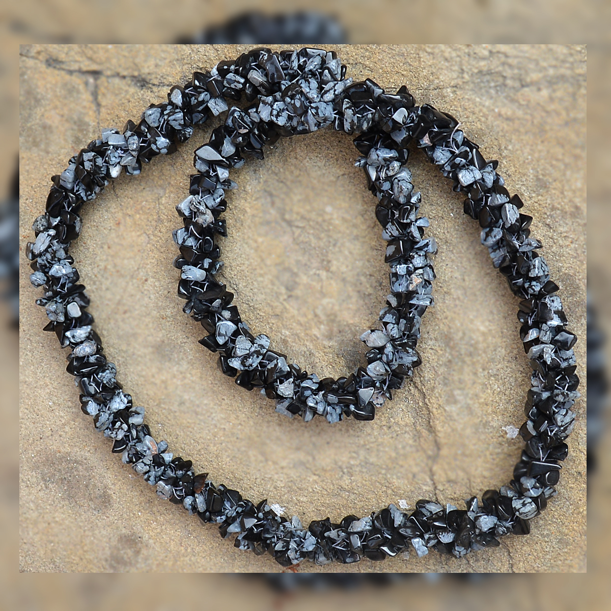 Snowflake Obsidian Gemstone Chips Necklace PG-156075