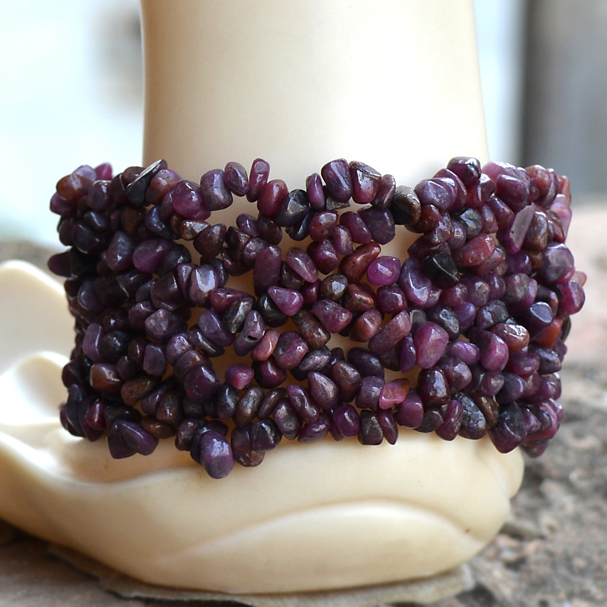 Ruby Gemstone Chips Bracelet PG-156080