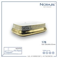 Ncraze Bath Golden White table top Ceramic Wash Basin