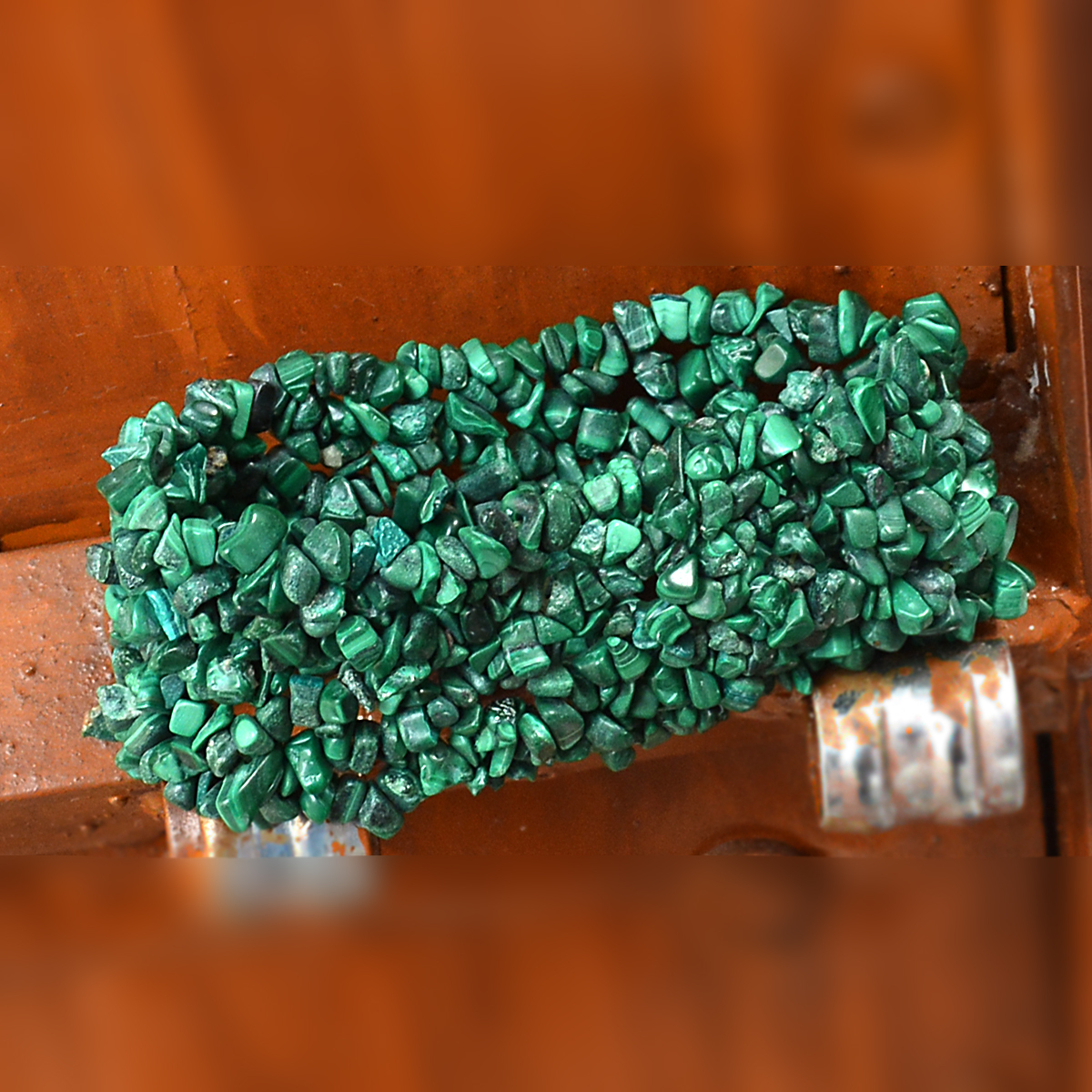 Malachite Gemstone Chips Bracelet PG-156082