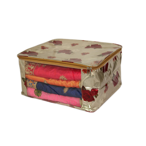 Red Rose  golden background Multi saree packing bag