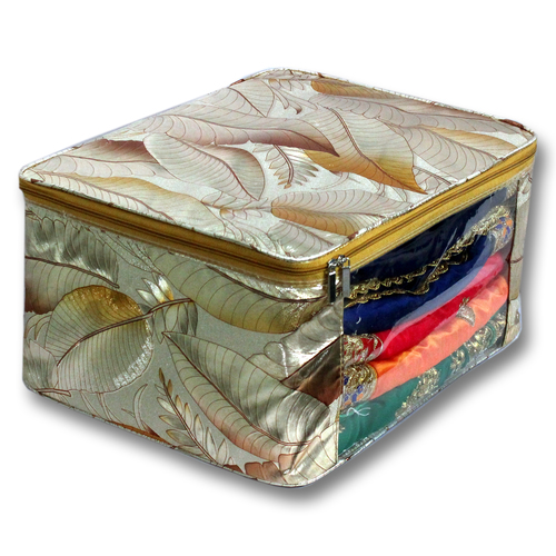 Golden Leaves Design Multi saree packing bag